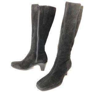 La Canadienne Black Suede Waterproof Tall Boots